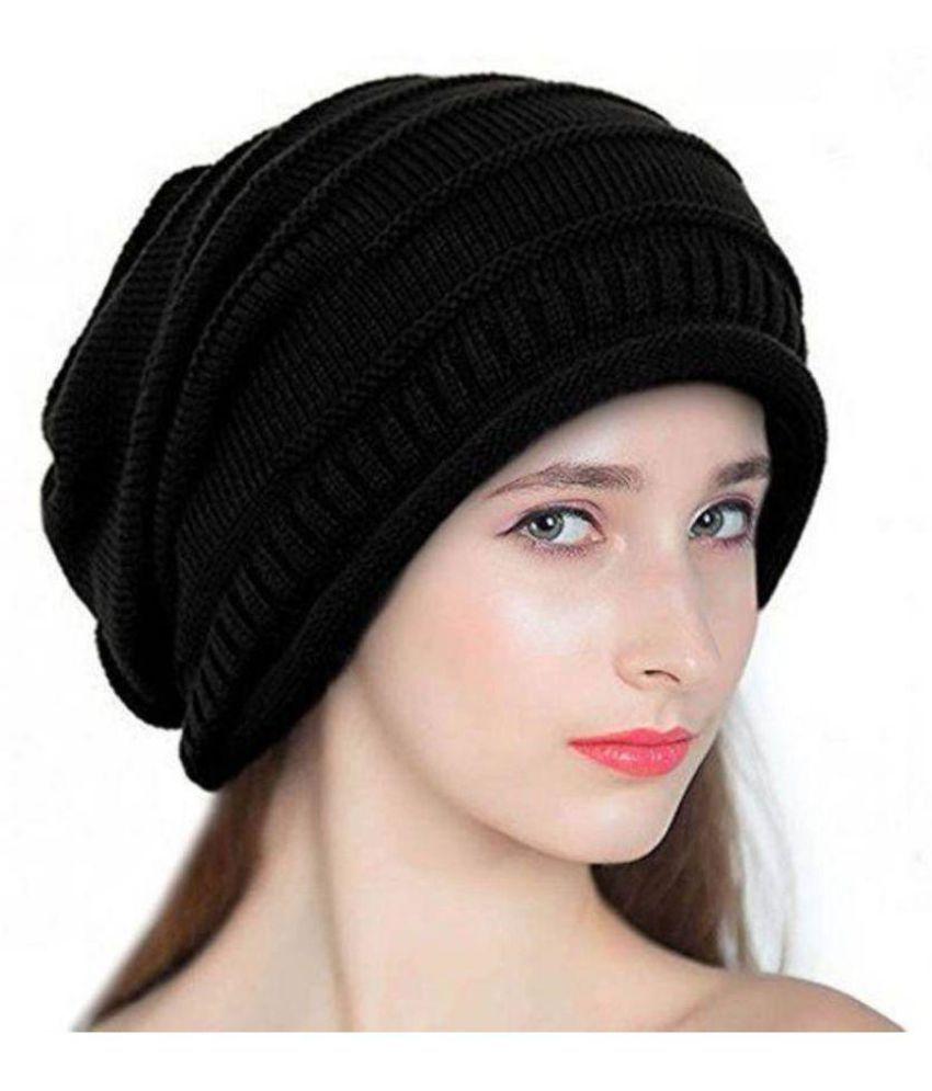 e2d5613ed3fed Babji Self Design Black Slouchy woolen Long Beanie Cap  Buy Online ...