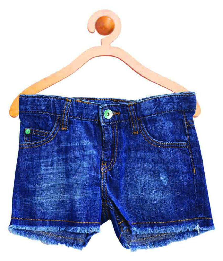 United Colors of Benetton Blue Shorts With Belt And Badge - 16P4DENC0127I902M