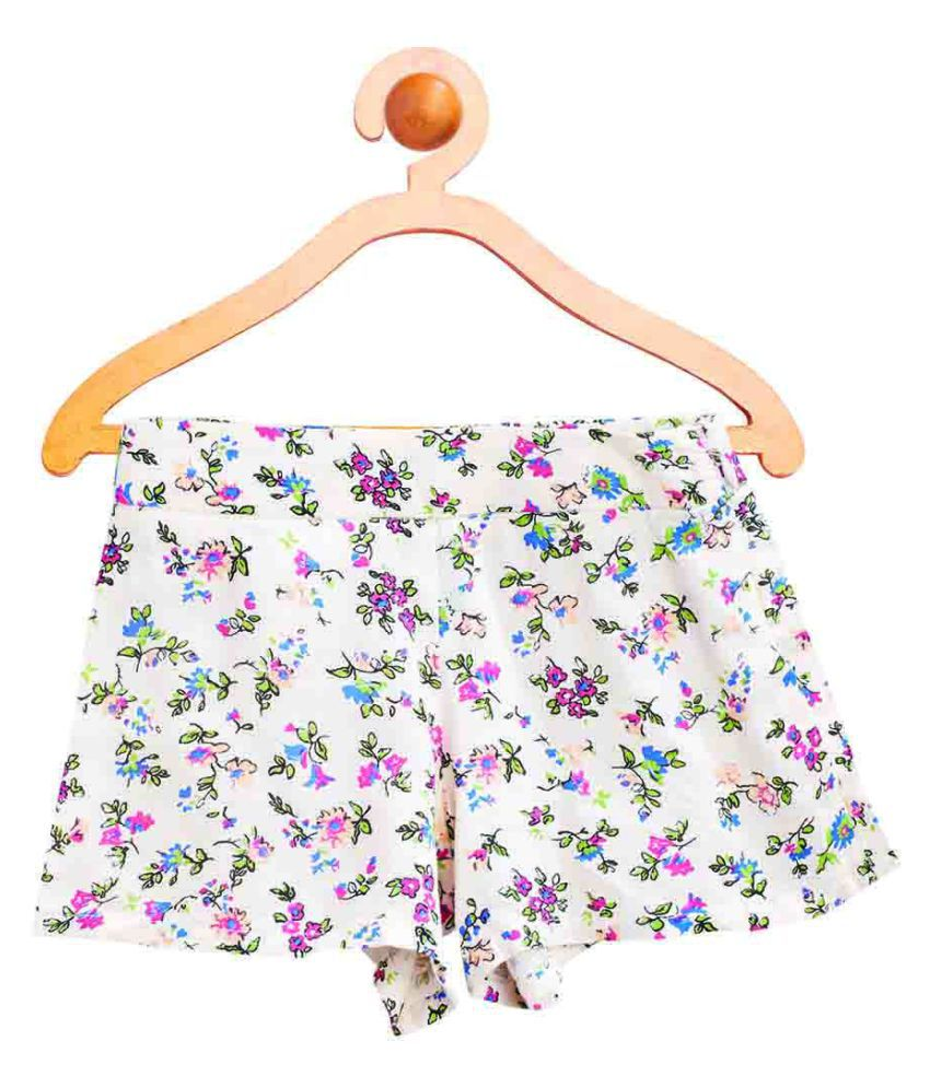 United Colors of Benetton White Floral Printed Shorts - 16P4S5AS98I0G902EL