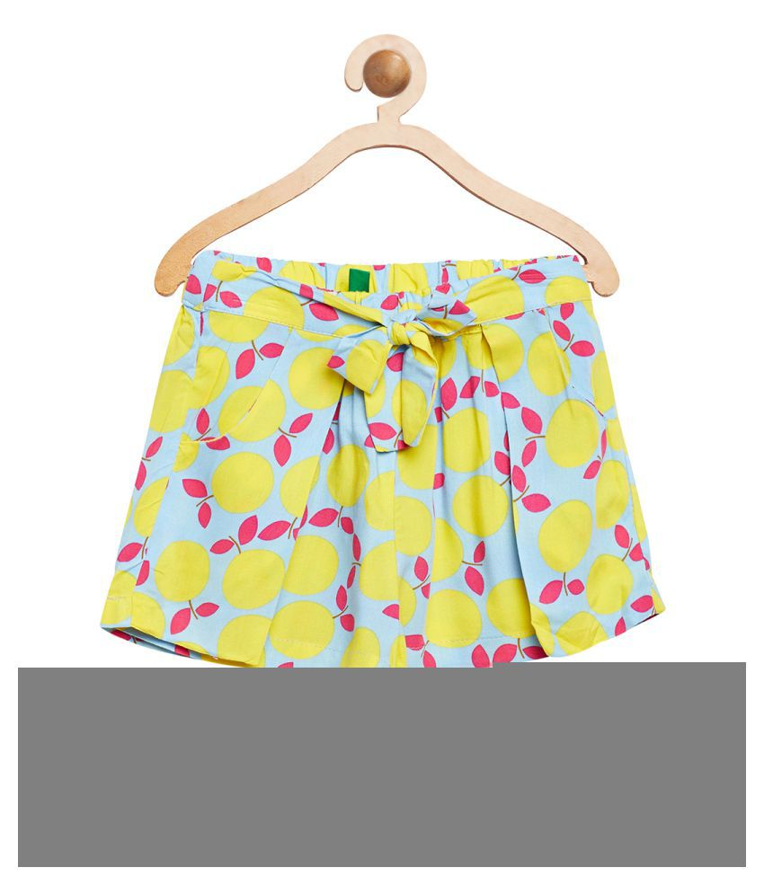 United Colors of Benetton Yellow Lemon Printed  Shorts - 16P4VISC0146I901L
