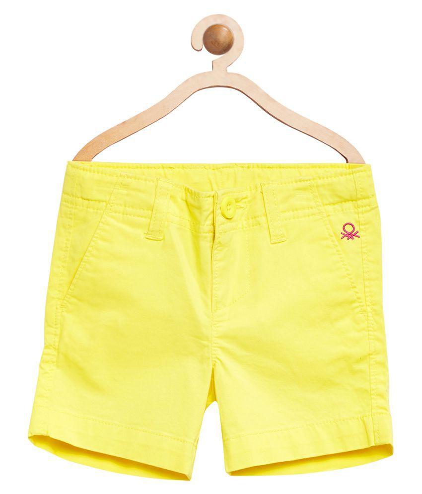 United Colors of Benetton Yellow Basic Long Shorts - 16P4POPC0198I1ADXL