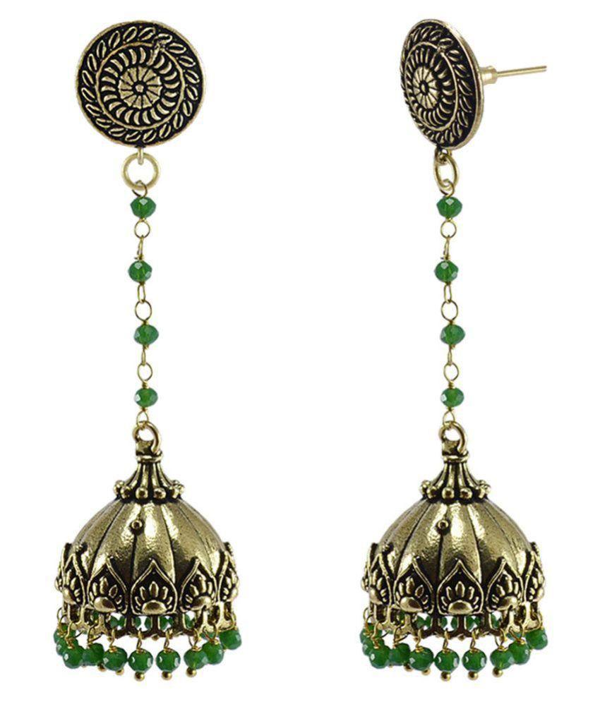 Silvesto India Hindu Round Jhumki Earrings Jewelry With Green Crystal Beads PG-128281