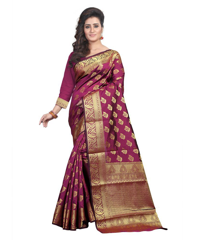 Fashion Founder Purple Cotton Silk Saree