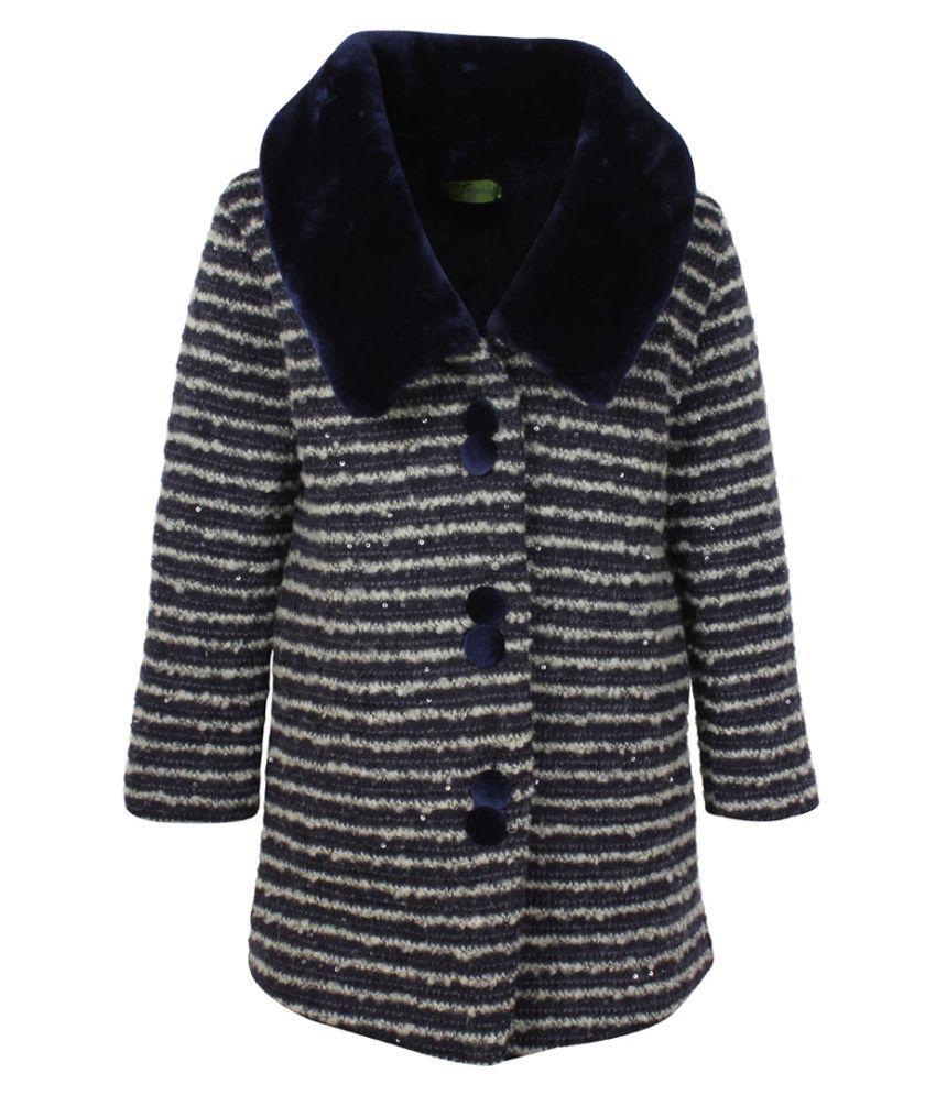 Cutecumber Girls Partywear Woolen Knit Winter Jacket