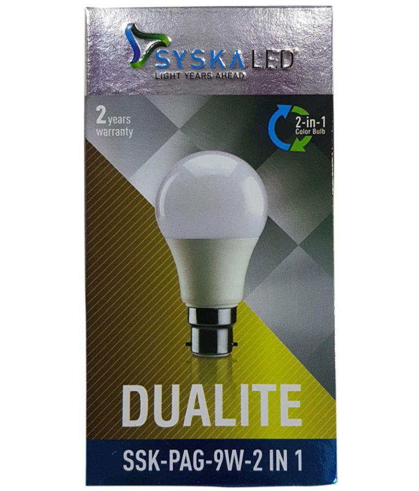Syska 9W LED Bulbs Cool Day Light   Pack of 3