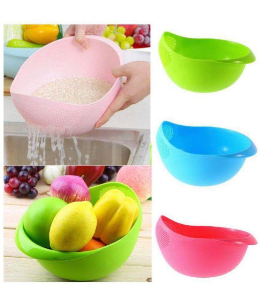 Cronus 3 Pcs Plastic Fruit Bowl 1000 ml