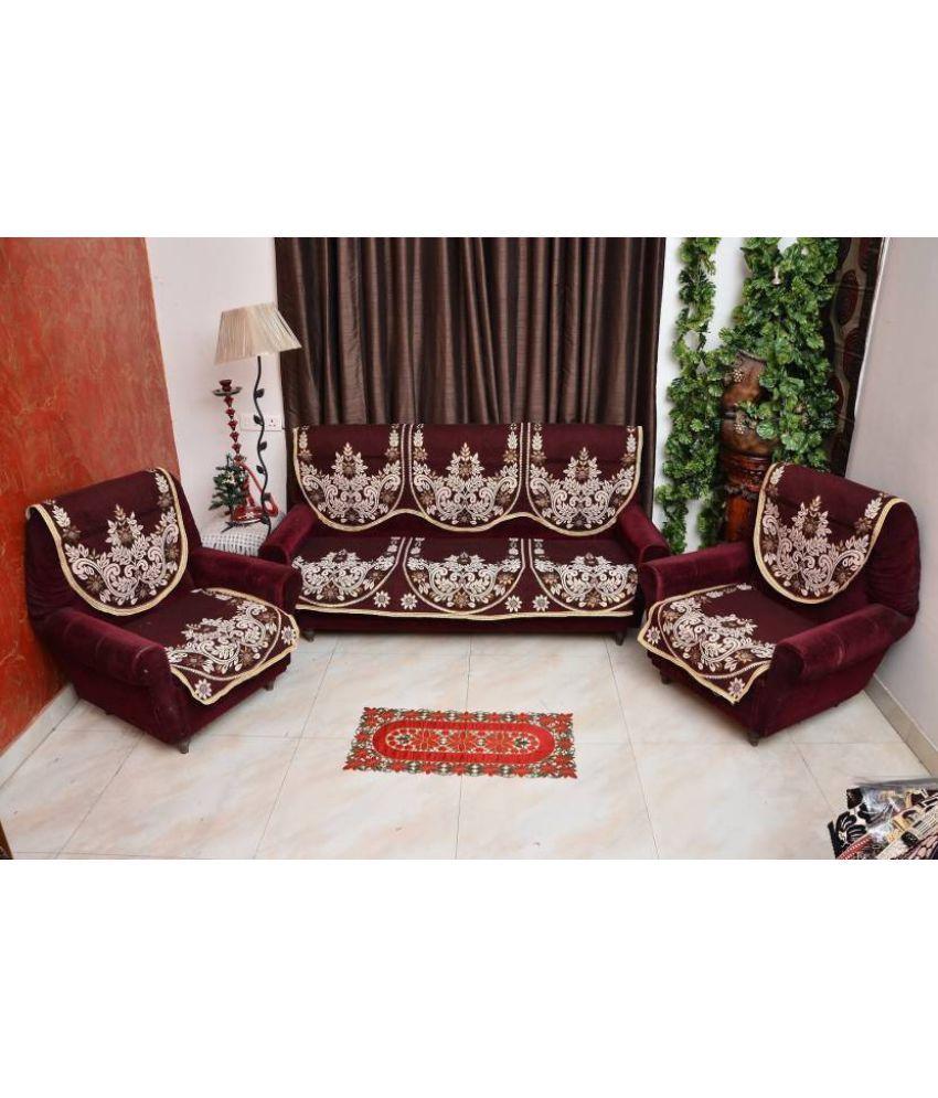 Decorista 5 Seater Cotton Set Of 10 Sofa Cover Set Buy