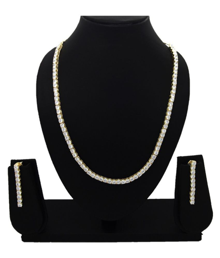 9blings American Diamond Single line Solitaire look gold plated Necklace set