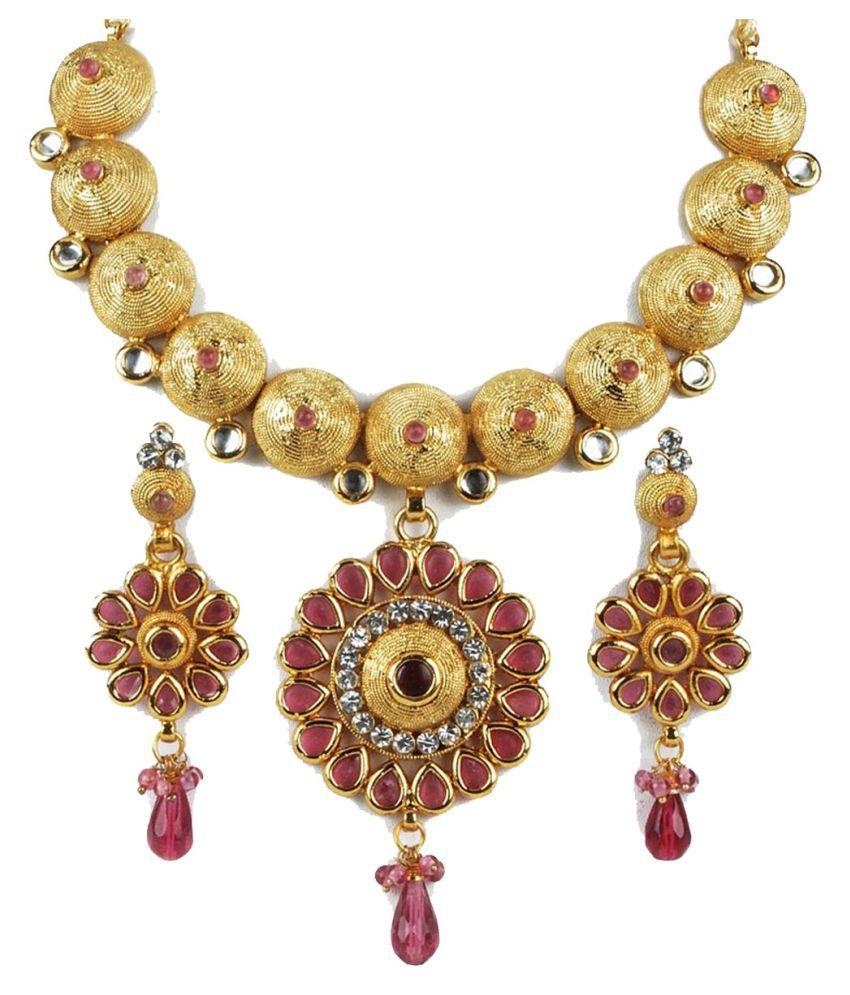 Biyu bridal look contemporary design pink kundan CZ gold plated necklace earring set