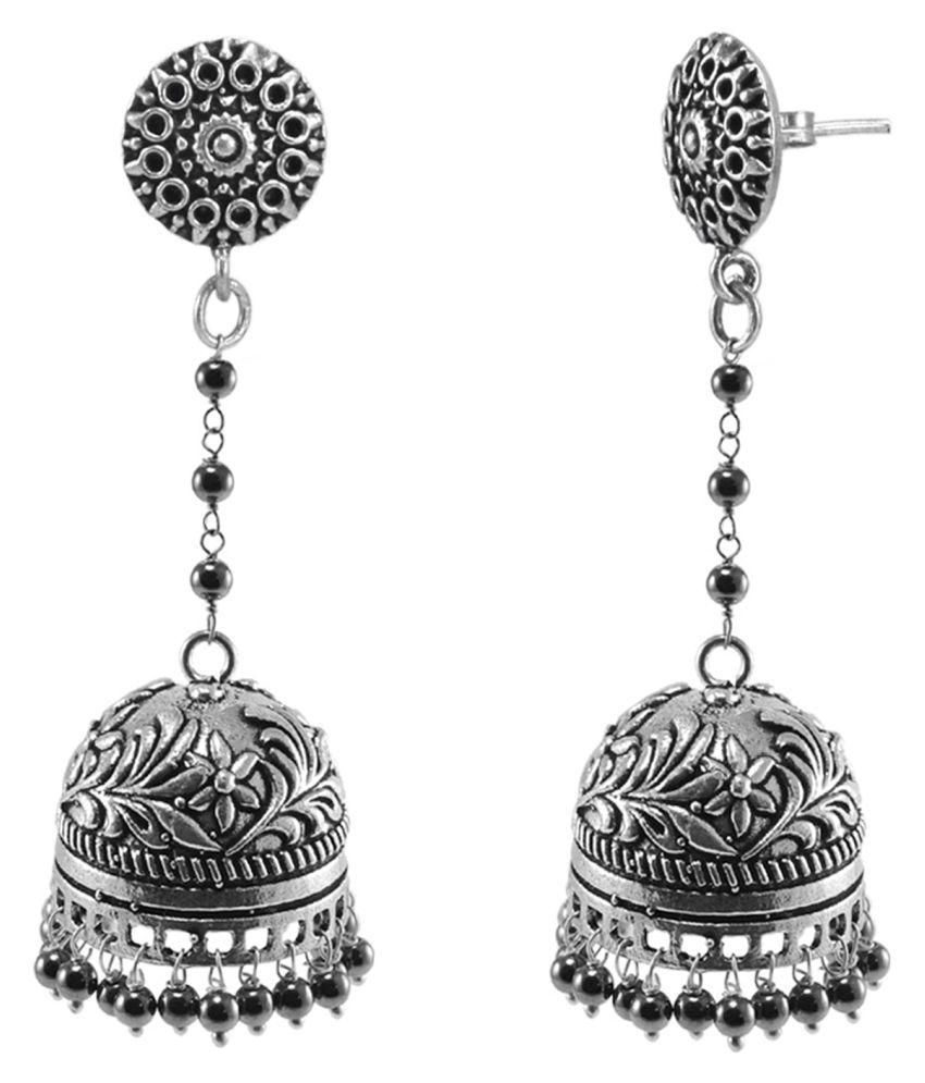 Silvesto India Ethnic Large Oxidized Jhumki Sleek Globes Of Hematite Beads PG 117292