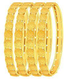 Asmitta Brilliant Laxmi Coin Gold Plated Set Of 4 Bangles For Women