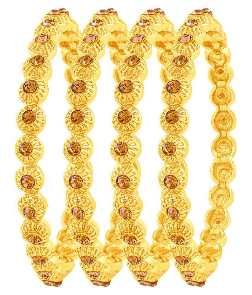 Asmitta Fancy Gold Plated Austrian Stone Set Of 4 Bangles For Women
