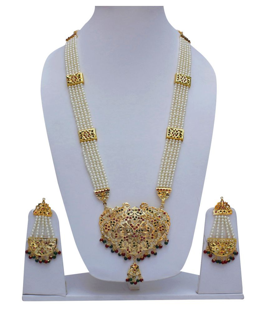 Lucky Jewellery Designer Magenta Green Color Gold Plated Navratan Guluband Necklace Set For Girls & Women