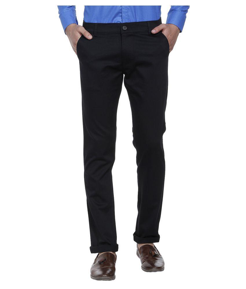 SHAURYA-F Black Slim -Fit Flat Trousers