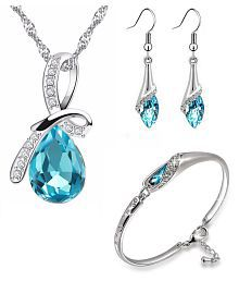 Om Jewells Blue Rhinestone Party Wear Jewellery Combo of Aqua Drop Pendant Necklace Set with Cuff Bracelet for Girls and Women CO1000064C