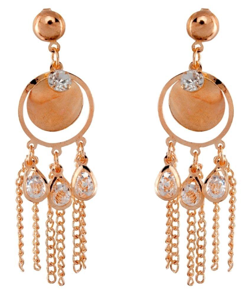 9blings Ravishing Round Crystal Gold Tone Earring