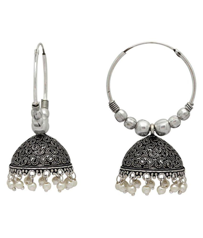 Lishaz White Color Beads Jhumka Earrings For Girls & Women