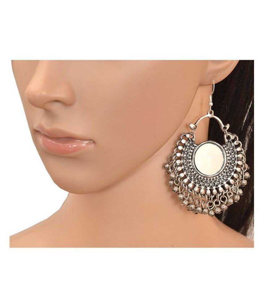 7accda1a0 ... Aabhu Afghani Designer Vintage Oxidised German Silver Tribal Hoop  Dangler Hanging Mirror Chandbali Earring Antique Jewellery