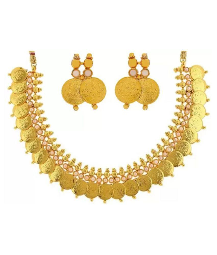 Bhagya Lakshmi Traditional White Embebbed Temple Coin Necklace Set With Earrings For Women