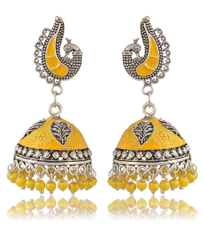 Fashion For Sure Silver & Yellow Brass Jhumki Earrings for Women (E166)