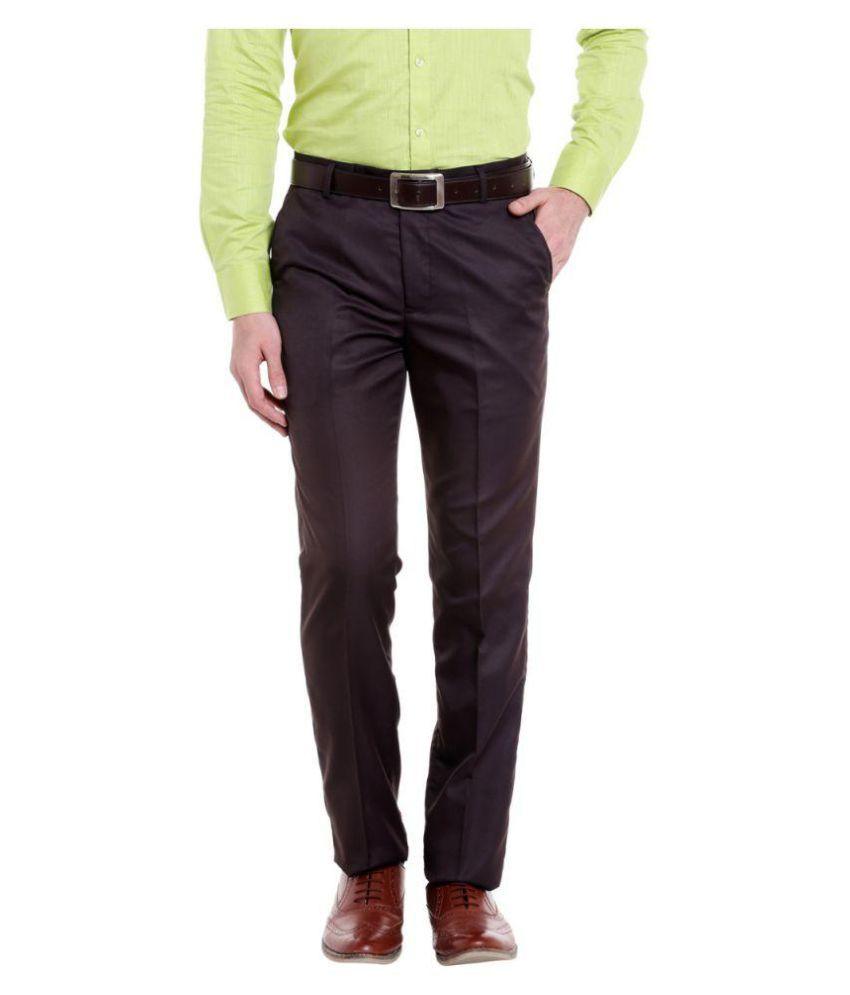 Solemio Brown Regular -Fit Flat Trousers