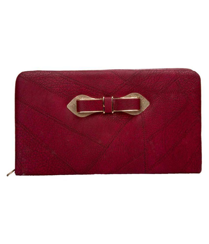Aliado Pink Faux Leather Box Clutch