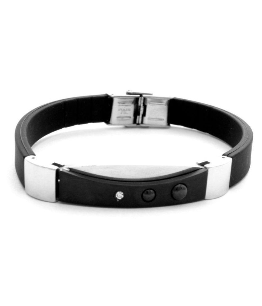 The Jewelbox Black Stainless Steel Bracelet