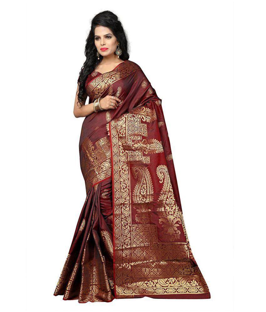 Dhyana creation Maroon Banarasi Silk Saree