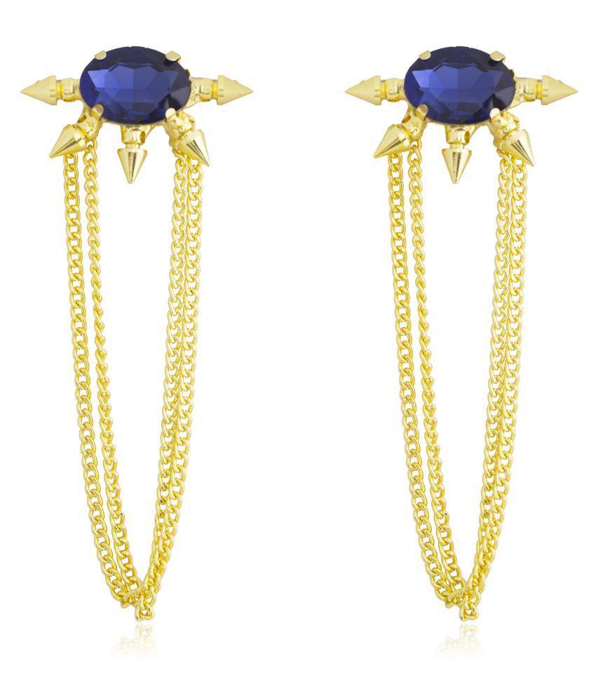 Moon Dust Gold Plated Fashionable Statement Partywear Tassel Earrings (MD_36)