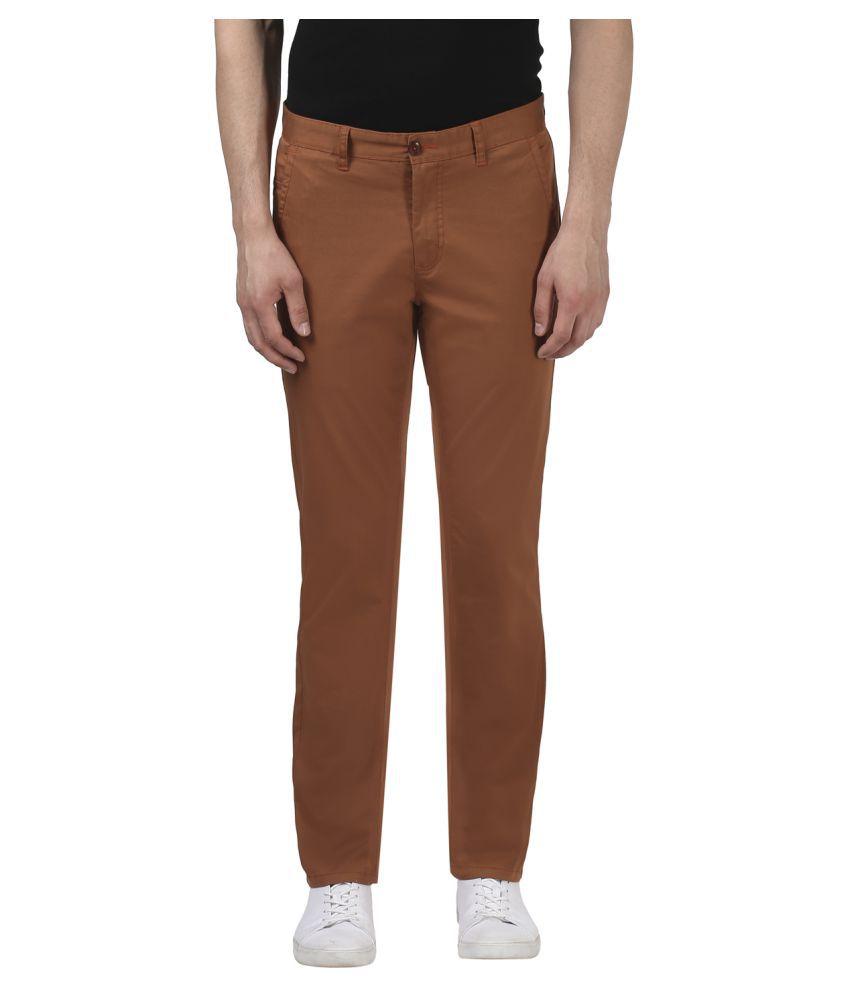 Colorplus Brown Regular -Fit Flat Trousers