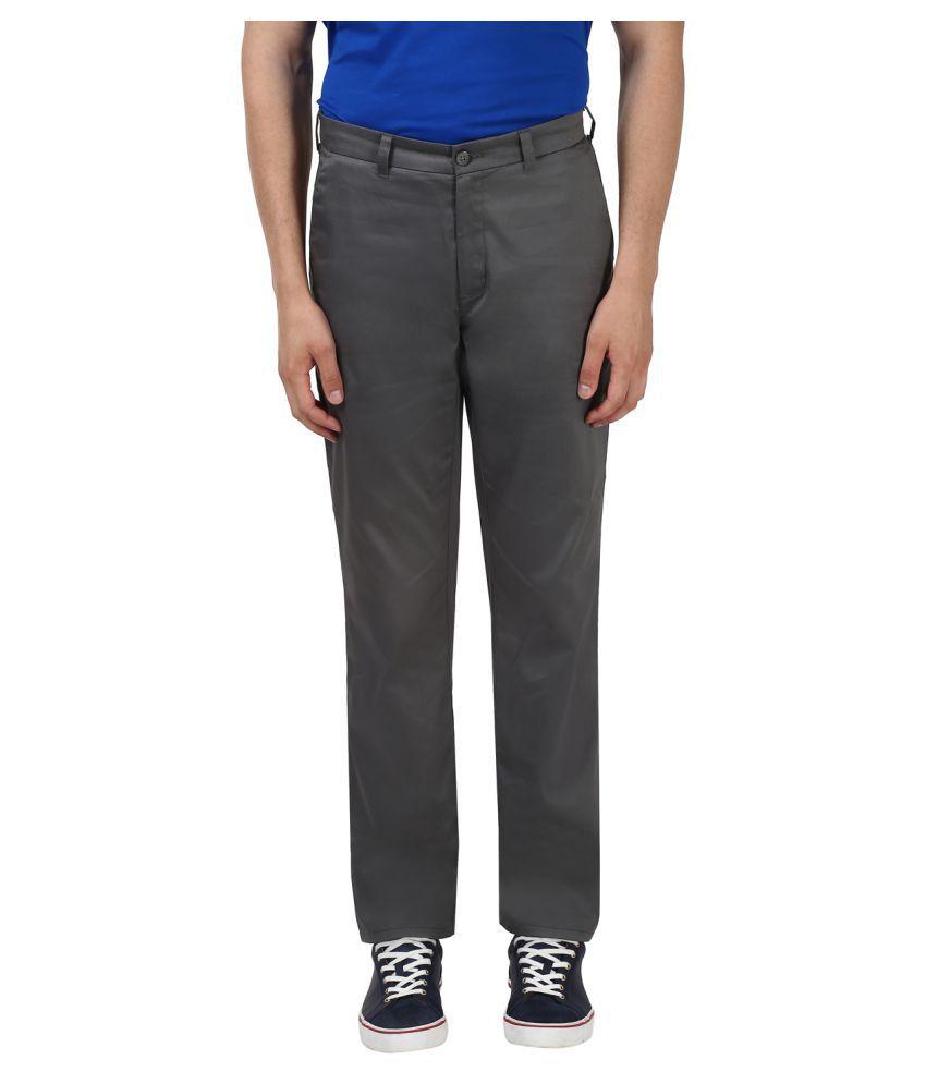 Colorplus Grey Regular -Fit Flat Trousers