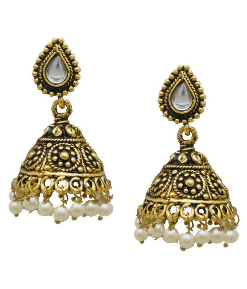 My Design Pearl Jhumki Gold Plated Earrings For Women