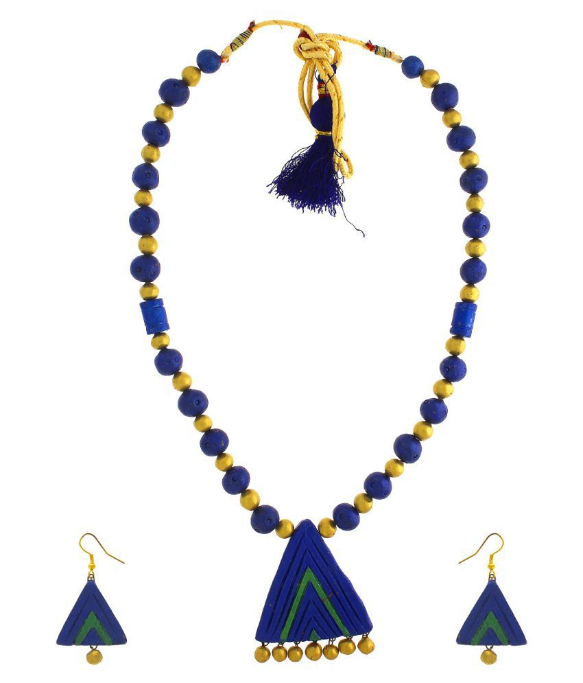 Anuradha Art Blue Colour Adorable Classy Traditional Terracotta Necklace Set For Women/Girls