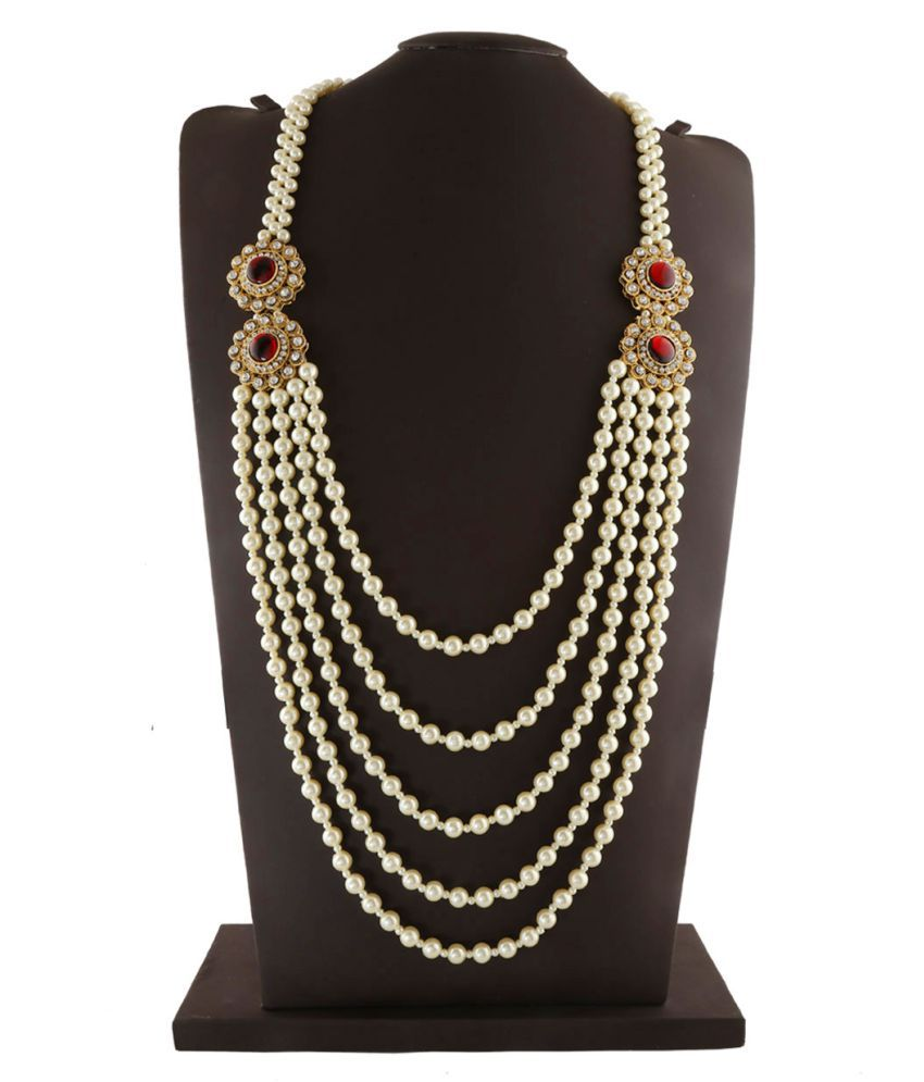 Anuradha Art White Colour Designer Multiple Layer Classy Traditional Necklace Groom Moti Mala For Men