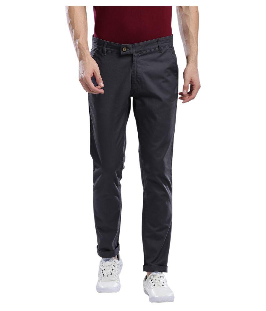 Hubberholme Grey Slim -Fit Flat Chinos