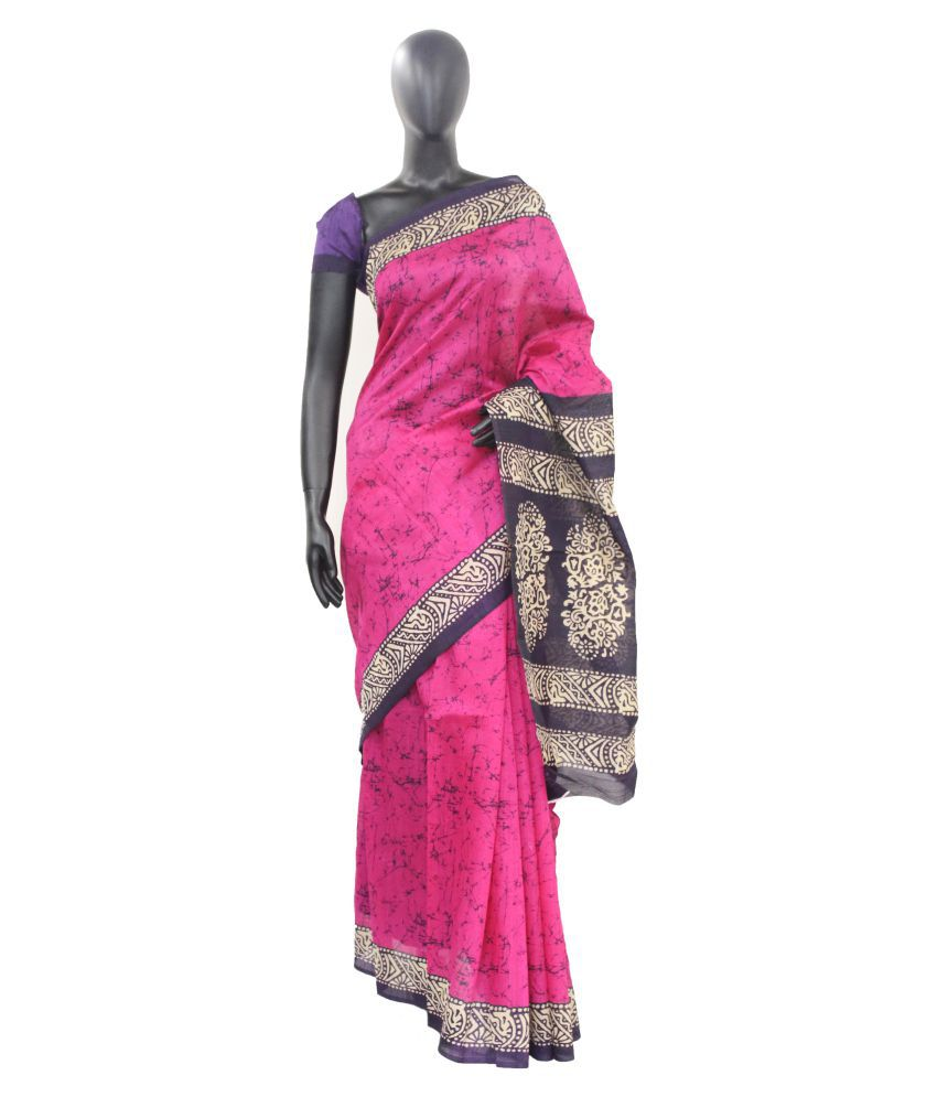 The holy mart Magenta Cotton Saree