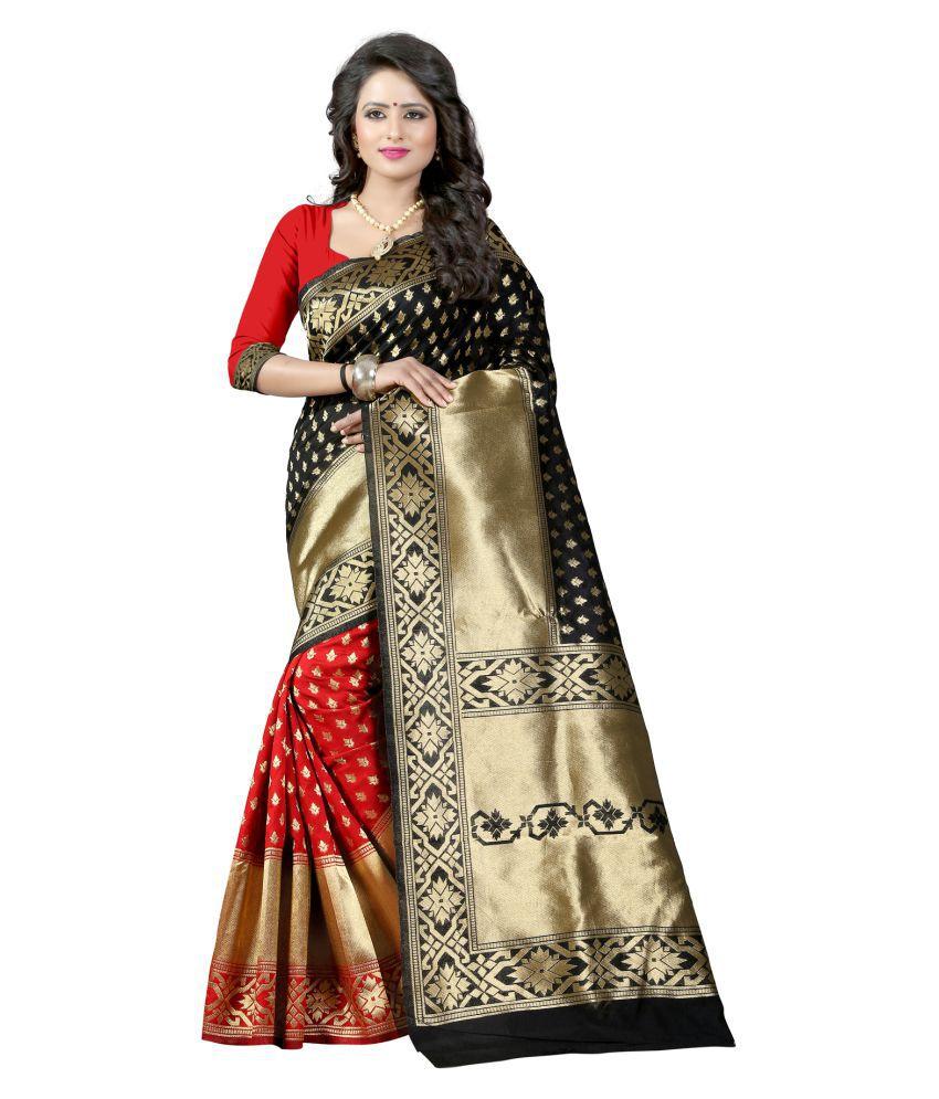 Fashion Founder Black Cotton Silk Saree