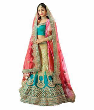 85539b4600248e F Plus Fashion Embroidered Semi Stitched Lehenga Choli(Blue, Gold) Krami  Womens Golden Embroidred Lehenga And Choli and dupatta, Material.