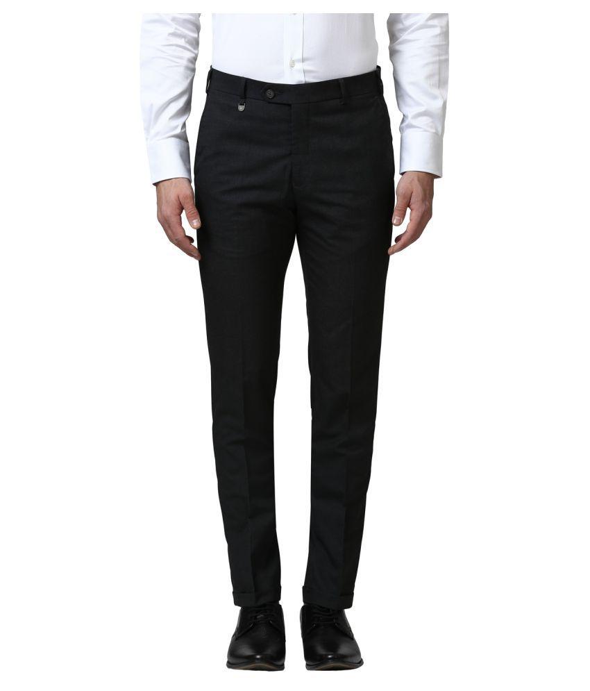 Park Avenue Grey Regular -Fit Flat Trousers