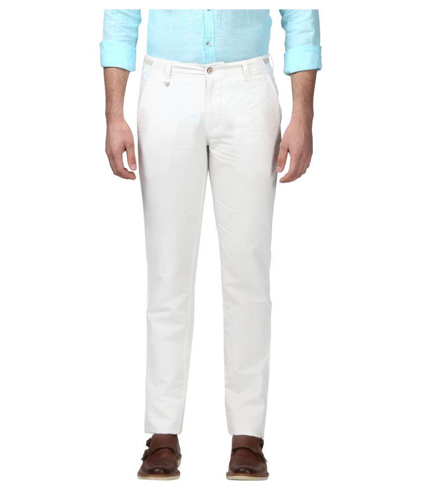 Park Avenue White Regular -Fit Flat Trousers