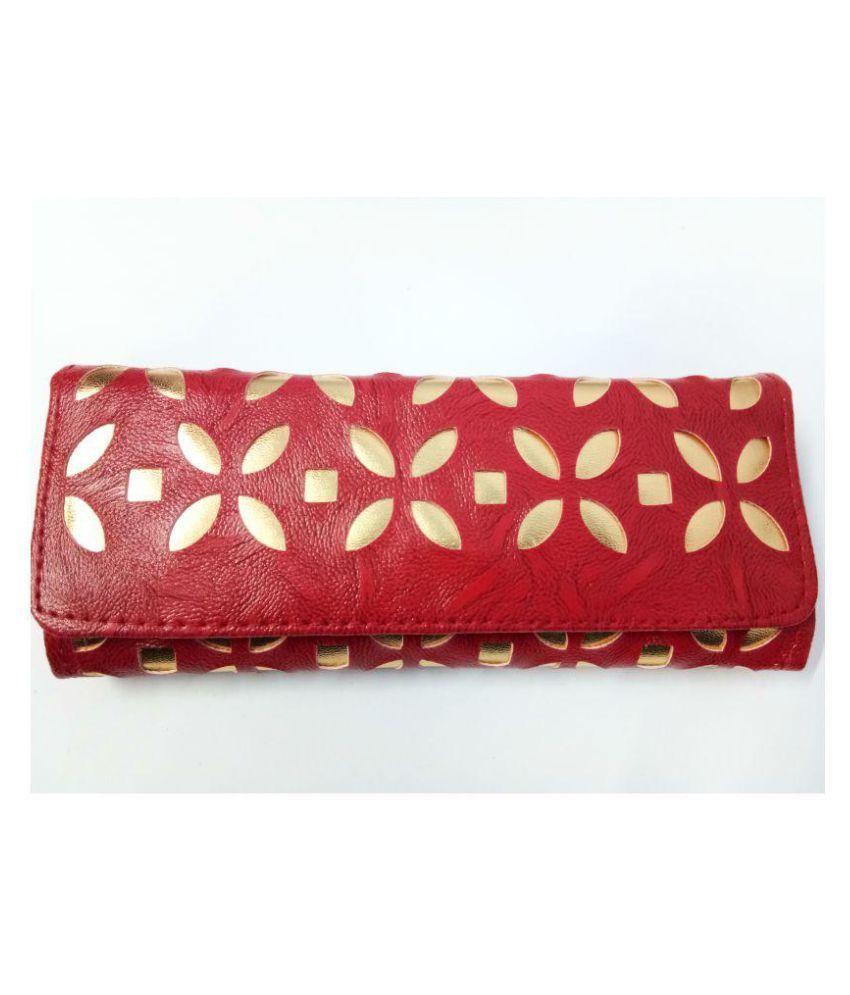 Eback Maroon Faux Leather Handheld