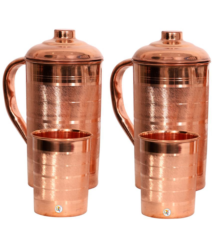KDT Two Copper Jug Pitcher With 2 Glass 4 Pcs Jug and Glass Combo