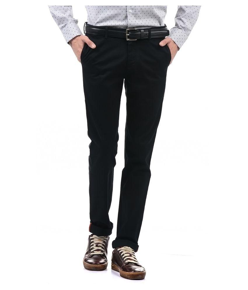 Arrow Black Regular -Fit Flat Trousers