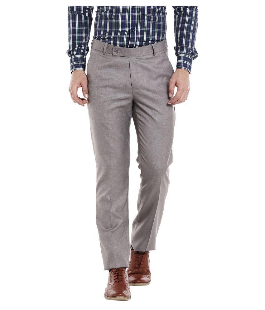 Solemio Grey Regular -Fit Flat Trousers