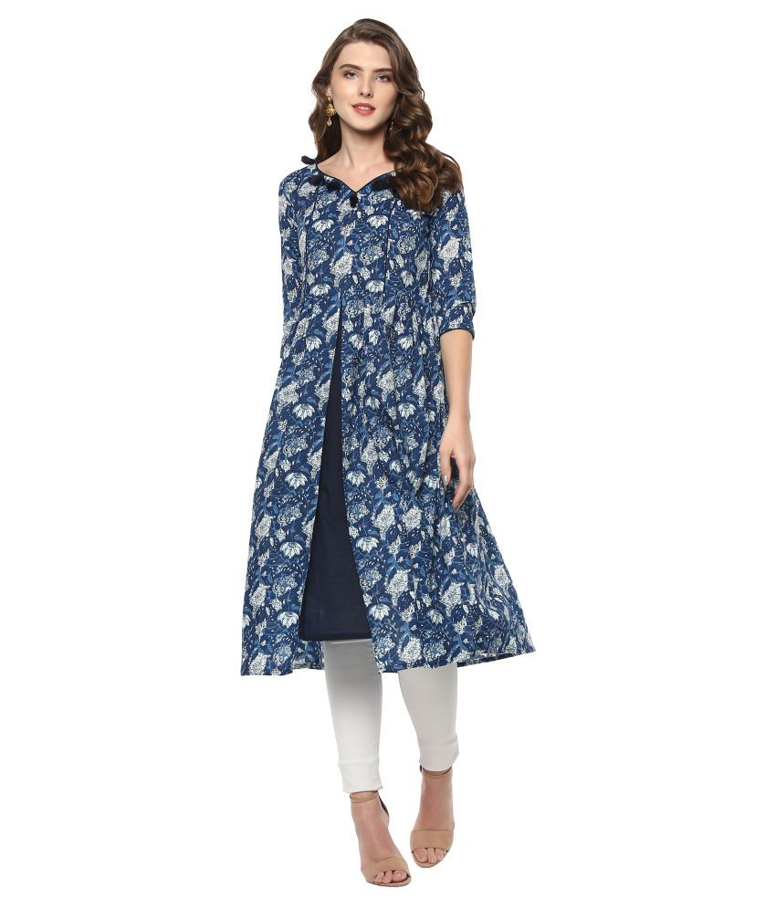 Janasya Blue Cotton A-line Kurti