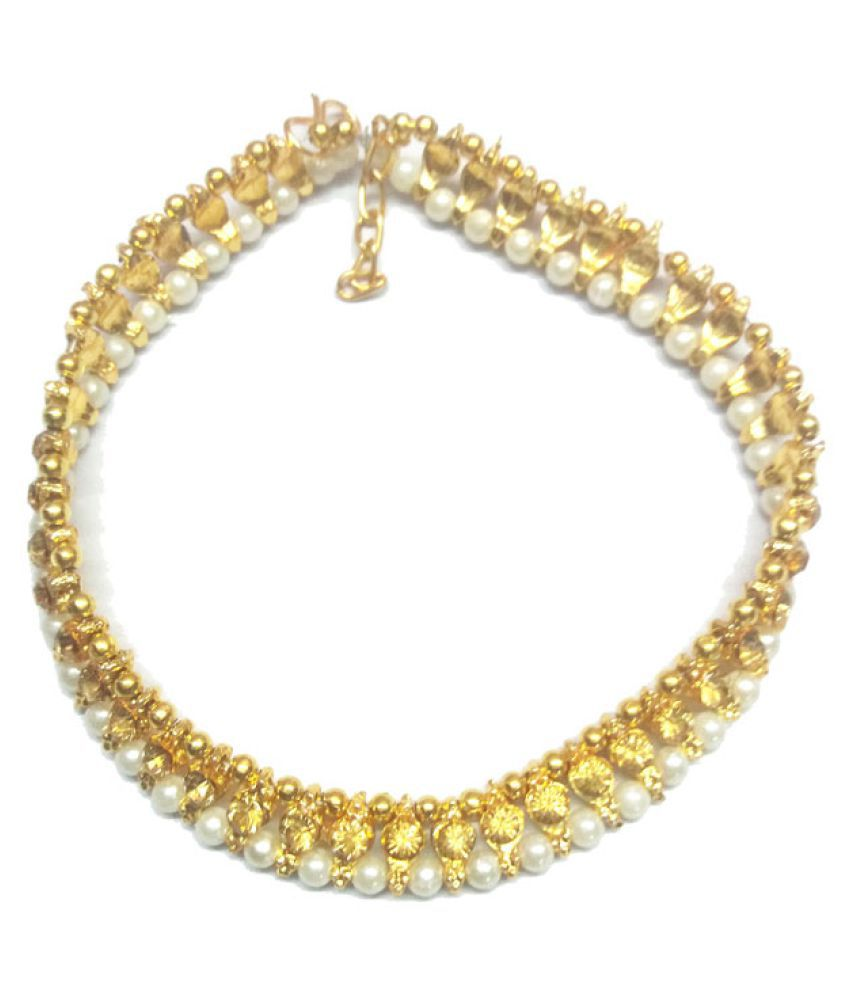 Gold Stone Payal Peal Anklet