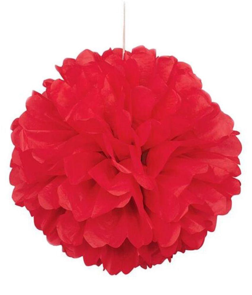 Optimus Traders Red Tissue Paper Flower Pom Poms 5pcs 12 Wedding