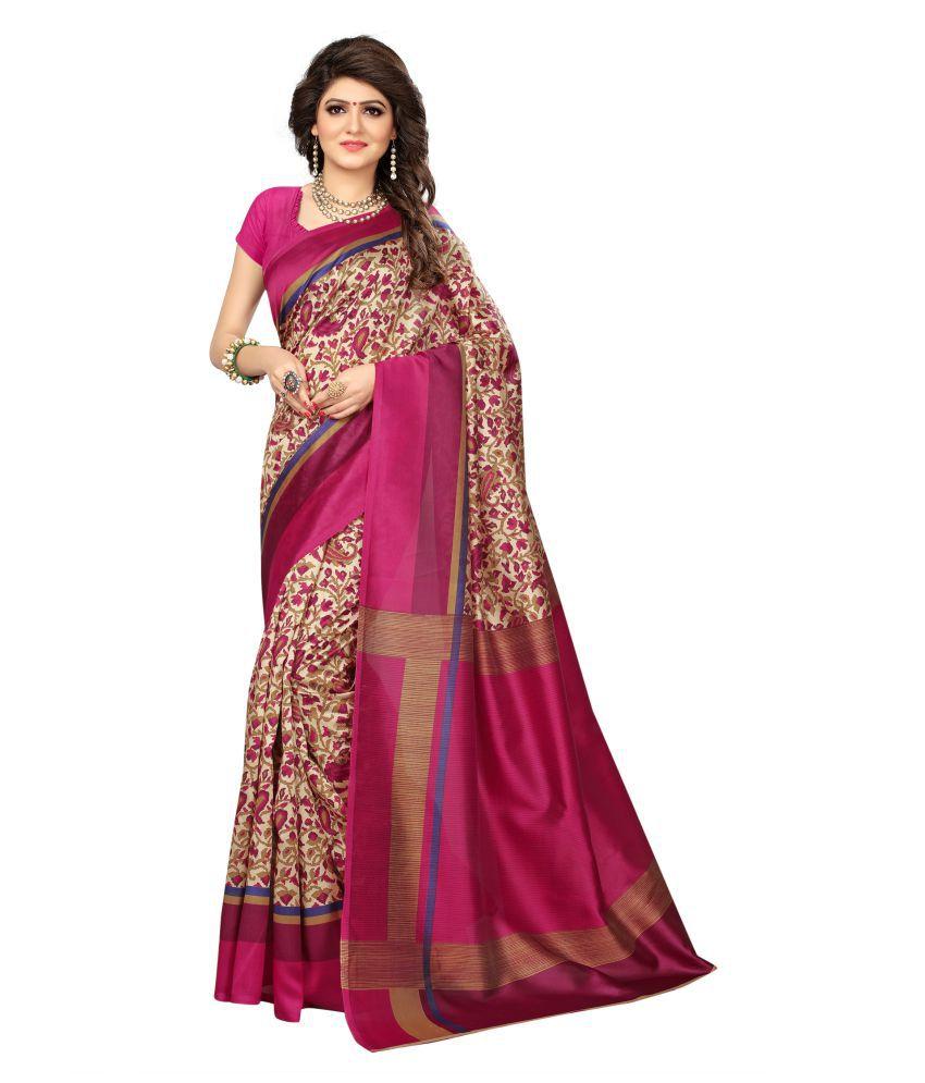Urban India Pink Mysore Silk Saree