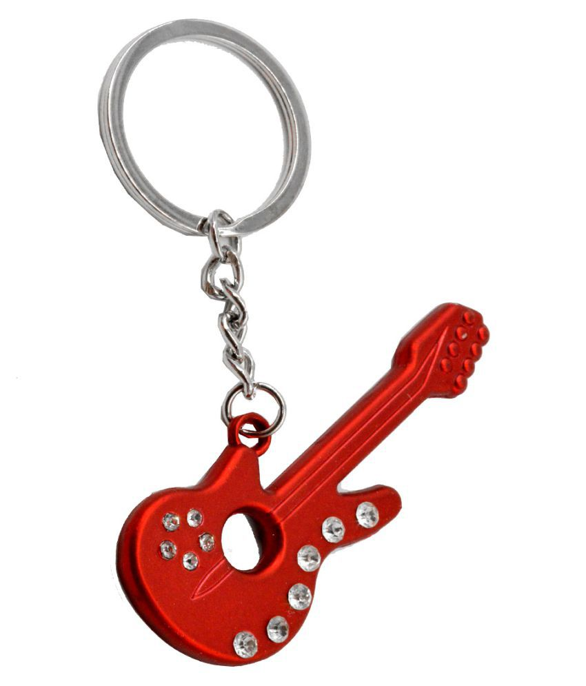Faynci Prestigious Cool Gift for Spouce/Boy Friend Blood Electric Red Guitar with precious stone Key Chain