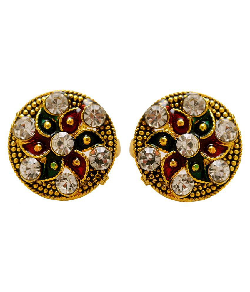 DzineTrendz Gold finish White Zirconia Meenakari adjustable size big round shape Toering bichiya for Women